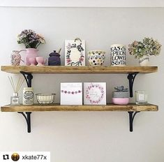Rustic scaffolding board shelves made to order from up to Each shelf is complete with a pair of our cast iron shelf brackets. Dark Wood Shelves, Rustic Wooden Shelves, Oak Shelves, Kitchen Shelves, Floating Shelves, Scaffold Shelving, Open Shelving, Shelving Ideas, Cast Iron Shelf Brackets