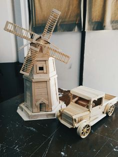 windmill made of popsicle sticks :-))  art by meee