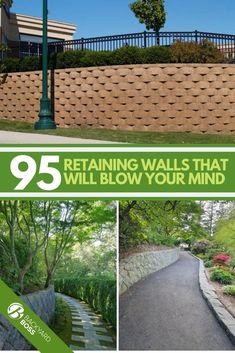 Retaining walls are sometimes used for function while others are just for design sake. Here we have 95 ideas others have used for retaining walls that use stone, blocks, concrete, slopes, cement, timber, modern designs, rustic colors and a fence or two. There are some that are cheap DIY ideas in here as well as others that require more hands on deck. #retainingwall #landscaping #fence #inexpensive Retaining Wall Fence, Backyard Retaining Walls, Cement Patio, Sloped Backyard, Backyard Patio Designs, Diy Patio, Backyard Ideas, Hillside Landscaping, Landscaping With Rocks