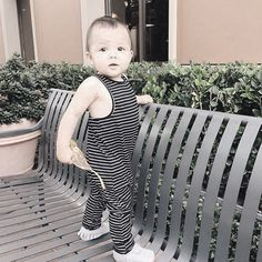 An easy to wear jumpsuit made to keep up with your little ones. @envydurham love seeing your little one in our bw stripe wharf jumpsuit! #carlymegan #youandmeandthesea16 #handmadeinla