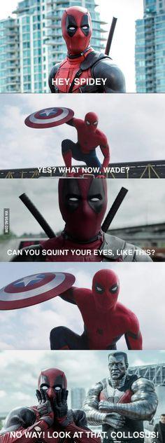 Fuck yeash Deadpool Funny, Deadpool And Spiderman, Funny Marvel Memes, Dc Memes, Avengers Memes, Marvel Jokes, Marvel Dc Comics, Marvel Heroes, Funny Comics