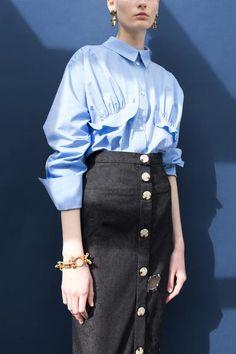 Annie Chambray Blue Ruffle Shirt