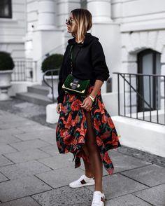 Gucci sneaker - floral skirt - hoodie - Prada cahier velvet bag