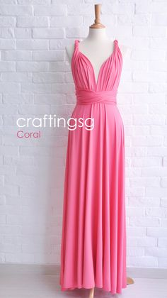 Bridesmaid Dress Infinity Dress Coral Floor Length by craftingsg