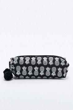 Ecote Pineapple Print Pencil Case in Black