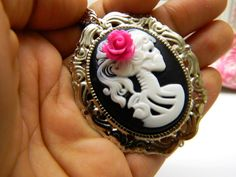 Cameo Skull Necklace in Hot Pink and Black for Day by CarleaPink