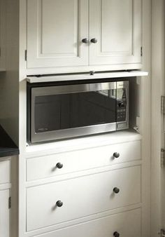 This kind of cabinet for the microwave to the left of the stove.  Microwave Cabinet Idea via Remodelista