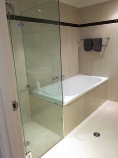 Frameless Shower Screen with Pivoting Door Bathroom Built Ins, Attic Bathroom, Upstairs Bathrooms, Rustic Bathrooms, Family Bathroom, Bathroom Sets, Modern Bathroom, Small Bathroom, Lavatory Design