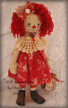 Sweet Raggedy Annie Doll Holly Holiday Christmas Primitive Folk Art OOAK | eBay