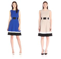 d9d1383354a Calvin Klein Women s Fit-and-Flare Color-Block Dress at Amazon Women s  Clothing store