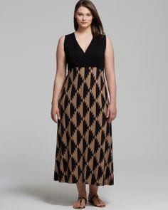 Karen Kane Plus Size Fashion Exotic Island Tribal Print Maxi Dress #Karen_Kane  #Plus #Size #Fashion #Plus_Size_Fashion #Bloomingdales