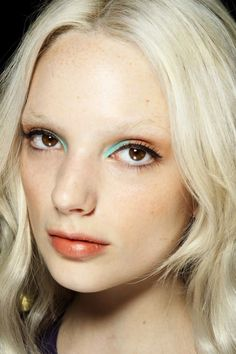 Beachy Eyes, powder blue liner + shades of coral, from Rebecca Minkoff's spring 2013
