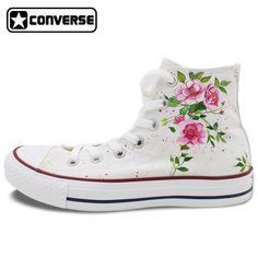 timeless design 44239 471fe Canvas Shoes Women Men Converse All Star Flower Floral Original Design Hand Painted  Shoes High Top