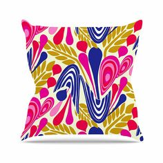 KESS InHouse AR2005AOP03 18 x 18-Inch 'Amy Reber Abstract Bouquet Pink Blue' Outdoor Throw Cushion - Multi-Colour >>> Find out more at the image link. #GardenFurnitureandAccessories