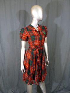 Vintage 40s Dress Pleated Red Plaid Shirt Waist