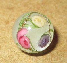 Antique Button -19th C. Glass Paperweight w Pink Lilac Ivory Overlay Flowers