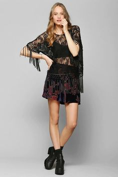 Staring At Stars Lace Fringe Tunic Top #urbanoutfitters