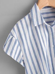 SheIn offers Contrast Striped Petal Sleeve Dip Hem Shirt & more to fit your fashionable needs. Jw Fashion, Blue Fashion, Korean Fashion, Umgestaltete Shirts, Collar Shirts, Outfits Con Camisa, Petal Sleeve, Shirt Refashion, Summer Shirts