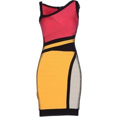Hervé Léger By Max Azria Short Dress ($1,030) ❤ liked on Polyvore featuring dresses, garnet, zipper dress, colorful dresses, print mini dress, short tube dress and mini tube dress