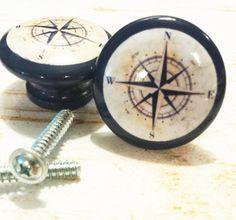 10 Handmade Nautical Birch Wood Knob Drawer Pulls, Navy Blue Antique Style  Compass Cabinet Pull