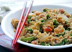 "Vegetarian Cauliflower Fried ""Rice""!  Low calorie, low carb, healthy, satisfying, delicious!"