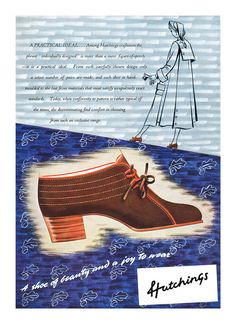 1949 Hutchings Shoes ad. #vintage #1940s #shoes