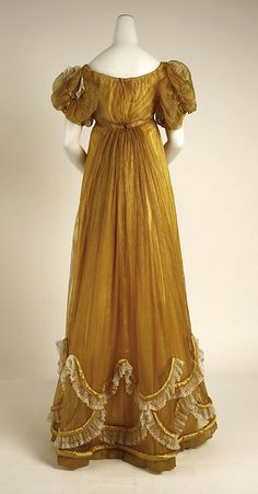 Evening dress  Date: ca. 1818 Culture: British Medium: silk  (collection of the Metropolitan Museum of Art)