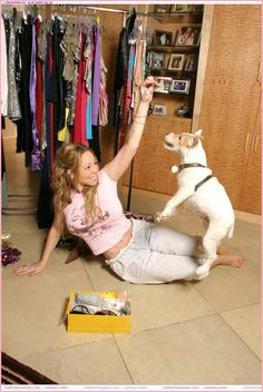 Mariah Carey having fun with her dog