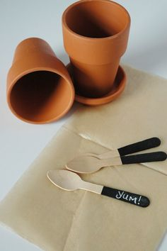 diy chalk board wooden spoons for potted plant tags #diy #crafts