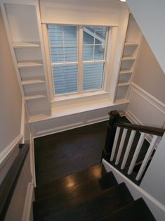 Having built-ins works so well here. Once styled it will take your eye away from the view of the house next door.