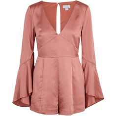 Finders Keepers Seasons Dusky Rose Satin Playsuit ($185) ❤ liked on Polyvore featuring jumpsuits, rompers, playsuit, romper, red romper, satin rompers, playsuit romper, finders keepers romper and plunge romper