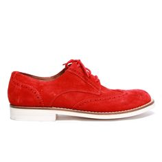 5ac866b65c125 Womens Red Suede Wingtip with Red Laces. White Micro Featherweight Sole.  Leather Lining.