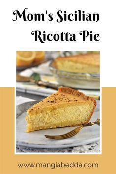 An Easter tradition, sweet ricotta pie! #ricottapie #sicilianrecipes Delicious Recipes, Vegan Recipes, Tasty, Ricotta Pie, Tim Tam, Good Food, Yummy Food, Sicilian Recipes, Mediterranean Recipes