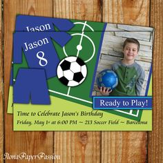 Soccer Birthday Invite   Soccer Invitation  by IlonaPaperPassion, $10.00