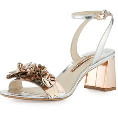 Sophia Webster Lilico Floral Leather Mid-Heel Sandal (€495) ❤ liked on Polyvore featuring shoes, sandals, silver, ankle strap high heel sandals, chunky heel sandals, metallic sandals, leather strap sandals and ankle strap sandals