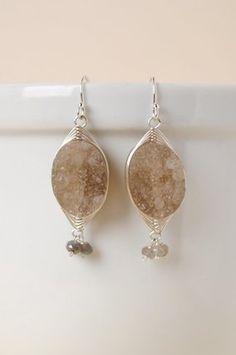 Aba012E unique handcrafted druzi agate gemstone sterling silver herringbone dangle earrings for women