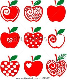 set of red apple icon isolated on white background. Vector illustration
