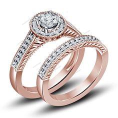 14K Rose Gold 1.35 Ct.tdw Round Sim.Diamond 925 Silver Bridal Ring Set Size 5-11 #aonedesigns