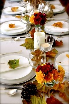 Fall Wedding Table Scape.  Pinned by Afloral.com from www.craftandcouture.com ~Afloral.com has silk fall flowers, leaves and pinecones to DIY this look