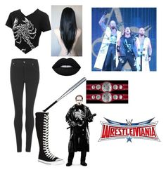"""having my father out there and going against Luke Gallows and Karl Anderson"" by nykirafisher646 ❤ liked on Polyvore featuring Cheap Monday, Converse, Lime Crime and WWE"