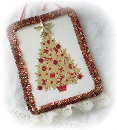 Shabby Sweet Repurposed Christmas Card GOLD/Red by RoseChicFriends, $3.99