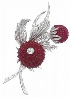 Broche en or blanc et diamants : Fleurs de chardon par Van Cleef & Arpels