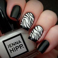 Jenna Hipp black and white nails nail pretty nails nail art zebra print nail ideas nail designs zebra nails Zebra Nail Designs, Zebra Nail Art, Zebra Print Nails, Fall Nail Art Designs, Cute Nail Designs, Zebra Stripe Nails, Nails Design, Fancy Nails, Pretty Nails