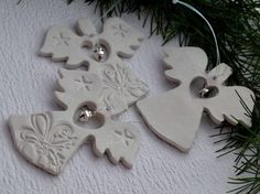 Easy Christmas Salt Dough For Christmas Decorations . Make Your Own Salt Dough Christmas Ornaments With Your Kids they are a super fun craft for the whole Salt Dough Christmas Decorations, Christmas Ornaments To Make, Christmas Angels, Handmade Christmas, Holiday Crafts, Christmas Christmas, Polymer Clay Ornaments, Dough Ornaments, Polymer Clay Christmas