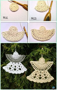 DIY Crochet Angel Ornament Free Pattern - #Crochet Christmas #Ornament Free Patterns