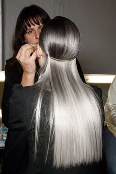 Wow, beautiful long hair - Ombre silver gray! Might be a way for me to age gracefully when the grays out number the colored.
