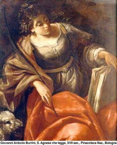 Giovanni Antonio Burrini, santa inés leyendo, s. XVII, pinacoteca nacional, bolonia