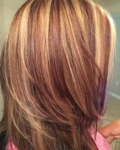 Love this style! Get more inspiration and share your own new look now! Red Hair With Blonde Highlights, Red Blonde Hair, Chunky Highlights, Caramel Highlights, Black Hair, Hair Color Auburn, Deep Auburn Hair, Balayage Hair, Honey Balayage