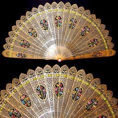 antique hand fans collectibles | Antique 19thc Brise Fan Pierced Horn Hand Painted Flowers, Eventail ...