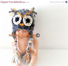 ON SALE Crochet hat owl with earflaps   Grises 0 to by NattyHatty, $22.09